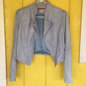 BRAND-NEW Alice+Olivia Sky Blue Leather Jacket